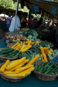 The only vendor I saw with yellow squash and a lot of vegetables.