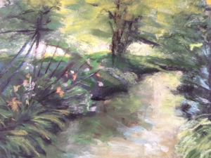 Landscape I did on my own before my lesson at Monsieur Paul's. Pastel on sandpaper, 11 x 14.