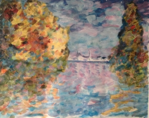 Monet replica learning exercise I did yesterday at Monsieur Paul's. Acrylic on canvas, about 12x16.