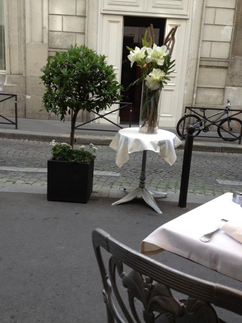 Beautiful flower arrangement from the street.